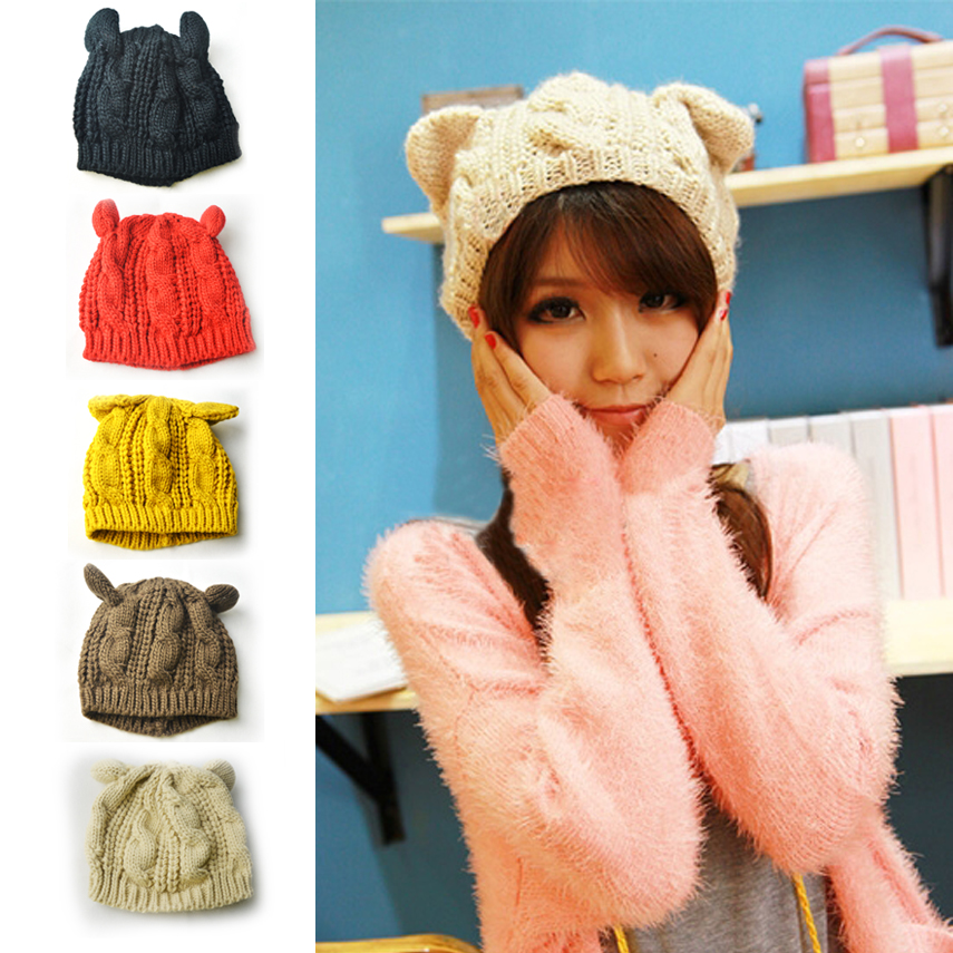 2016 Hot sale Knitted Wool Hat Cap Female Cat Ears Gorros Beret Beanie Touca Bonnet Crochet Braided Winter Hats for Girl mengpipi womens letters knitted hats winter glass sequins beanie hat cap chapeu gorros de lana touca casquette cappelli bonnets
