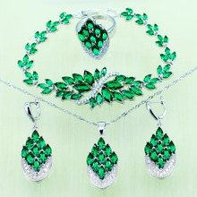 Reginababy Silver color Green created Emerald Wedding Jewelry Set For Women Crystal Bridal Bracelet/Necklace/Earrings/Ring