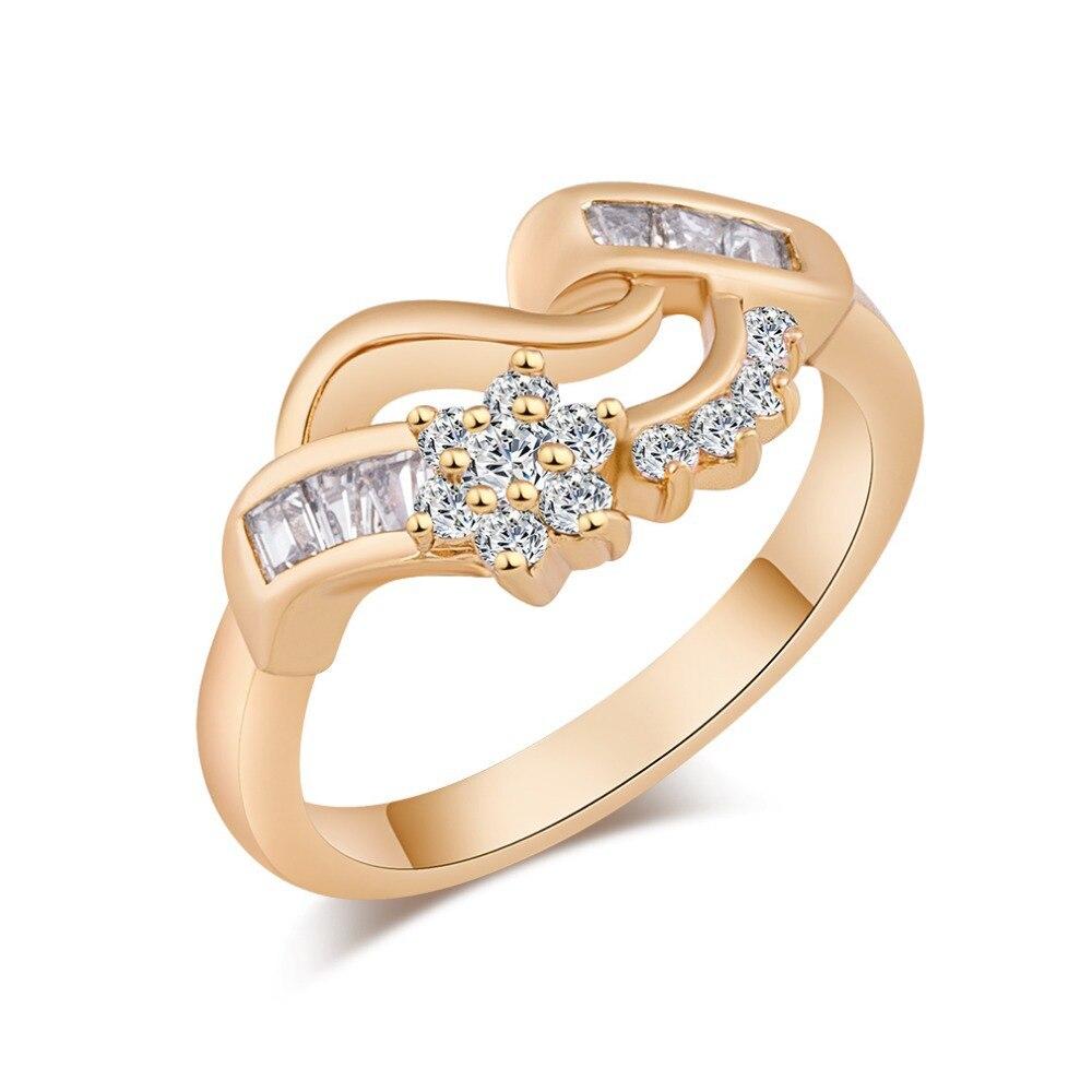 Promotion Brand Korea style rings women 18k gold Plated flower CZ diamond jewelry wedding Rings - Crazy Li Fashion Jewelry store