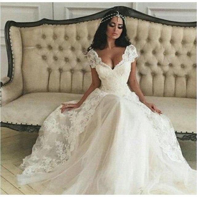 Us 165 0 Simple A Line Wedding Dress Lace Cap Sleeve Summer Beach Bridal Gowns Cheap Dress For Bride Vestido De Noiva In Wedding Dresses From