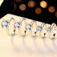 Классическое предложение кольцо для невесты Настоящее серебро 925 пробы ювелирные изделия Пасьянс 6,5 мм 1CT 2CT 3CT кольцо обручальное 16 сердца, с