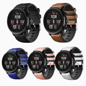 Image 1 - 22mm Watchband For Huawei Watch GT Strap Silicone Leather Bracelet For Xiaomi Amazfit Stratos/Pace For Samsung Galaxy Watch 46mm