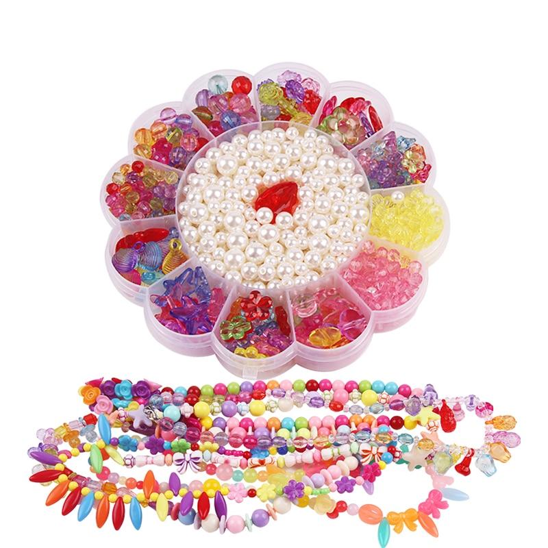 DIY Κοσμήματα για Κορίτσι DIY Kit Βραχιόλια Μοντέλα Παιχνίδια για Παιδιά Βιολογικό γυαλί για παιδιά Χειροποίητα κοσμήματα Αξεσουάρ κολιέ