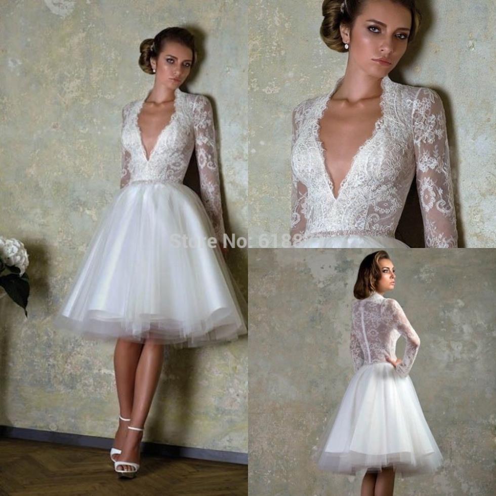 V Neck Long Sleeve Wedding Dress Lace Bodice Short Organza Y Designs White Ivory Junior Party Gowns Brides S Dresses In From