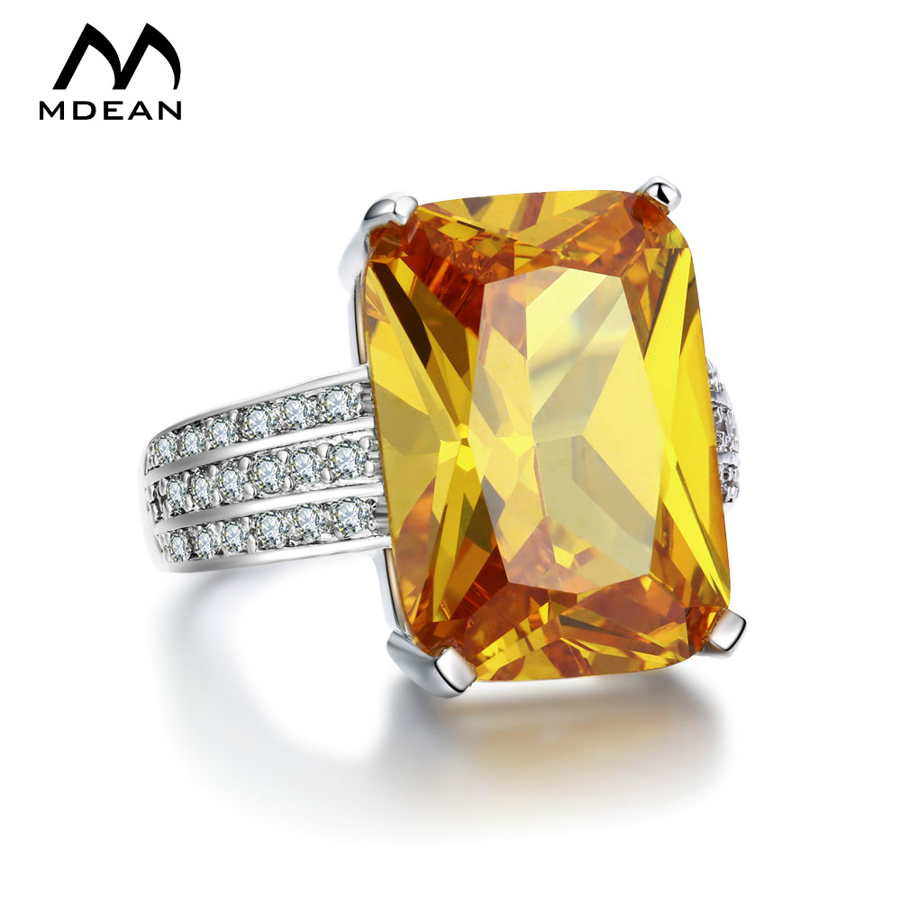 MDEAN White Gold Color big yellow stone Rings For Women s