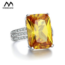 hot deal buy mdean white gold plated big yellow stone rings for women cz diamond jewelry engagement wedding women rings bijoux bague msr890