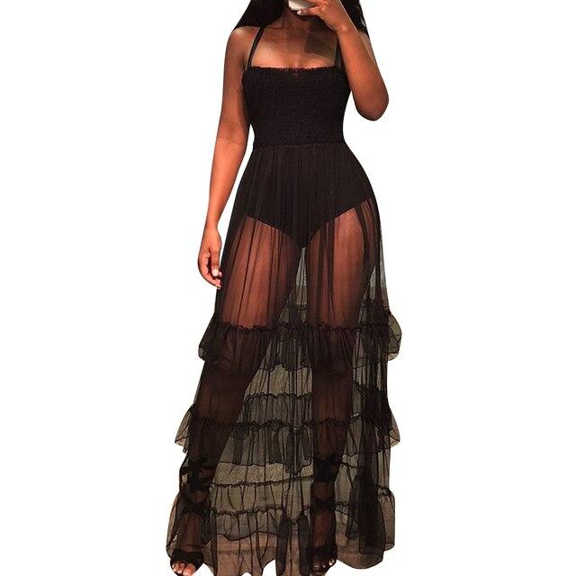 f14524282261 Women Summer Sheer Mesh Maxi Dress Sexy Club Party Dresses Sleeveless See  Through Black Dress Tiered Mesh Beach Strap Sundresses