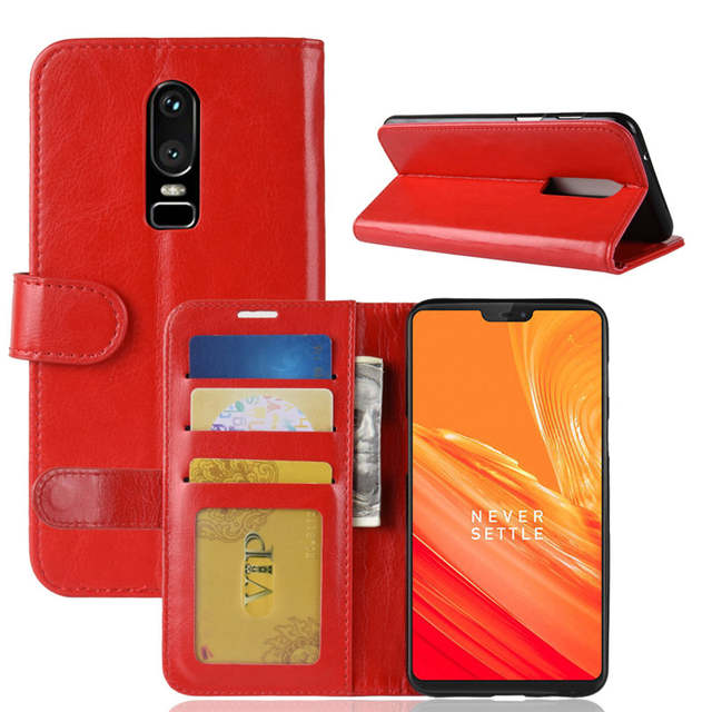 huge selection of 1c7bb 0b5c8 For OnePlus 6 Case 6.28 inch Wallet Stand PU Leather Case for OnePlus 6  Cover Phone Cases Flip Cover White Red Brown Black