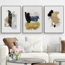 Black Golden Abstract Painting Canvas Print Pictur