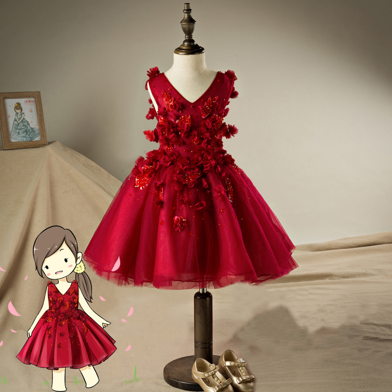 цена на V-neck Girls Short Dress Appliques Ball Gowns for girl Lace Up Floral Princess Girl Wedding Birthday Party Red Dresses JF552