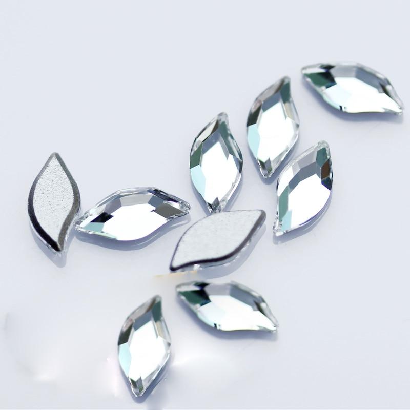 YANRUO 12pcs AB Crystal flat back New Leaf Design Rhinestone Gulitter Glass  3D AAAAA Nail Art abf580dee135