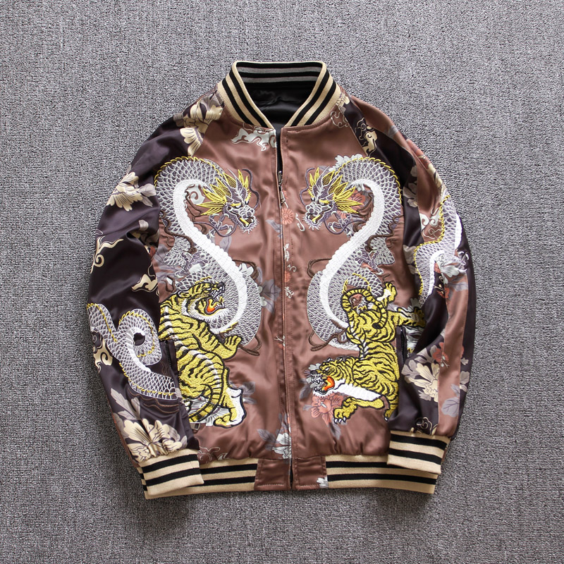 Makuluya Yokosuka Reversible Coat Street Style Women Men Dragon Tiger Printed Embroidery Baseball Casual Pilot's Jacket Coats QW