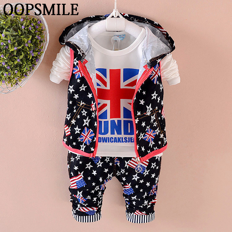 Baby Boys Clothes 2018 Autumn British flag T shirt+star Hat collar jacket+stripe Pants Casual Infant kids clothes suits