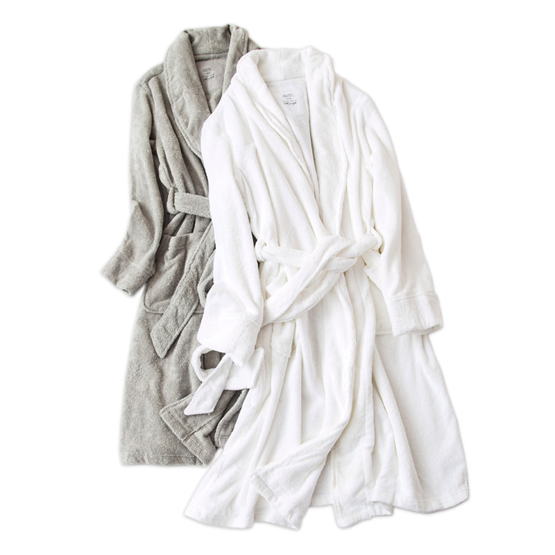 Pure color white 100 cotton robes women Winter toweling lovers thick bathrobes women home couples wedding