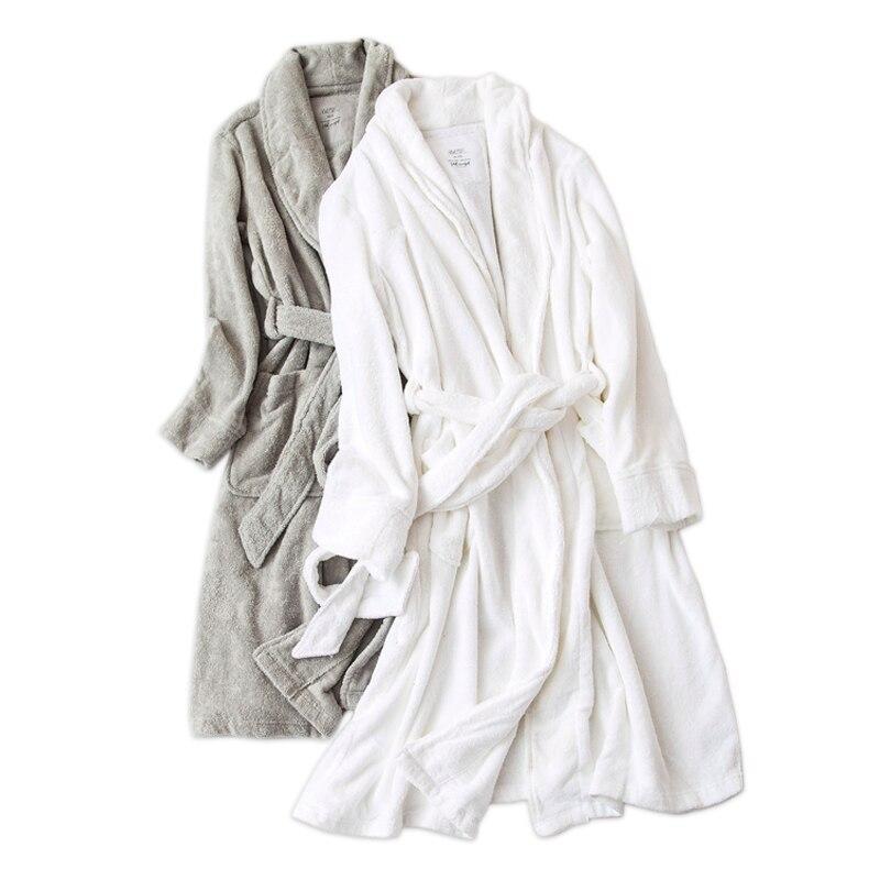 Couleur Pure blanc 100% coton robes femmes hiver éponge amoureux épais peignoirs femmes maison couples mariage kimono robes