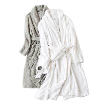 Pure color white 100% cotton robes women Winter toweling lovers thick bathrobes women home couples wedding kimono robes - DISCOUNT ITEM  20 OFF Underwear & Sleepwears