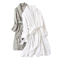 Pure color white 100% cotton robes women Winter toweling lovers thick bathrobes women home couples wedding kimono robes