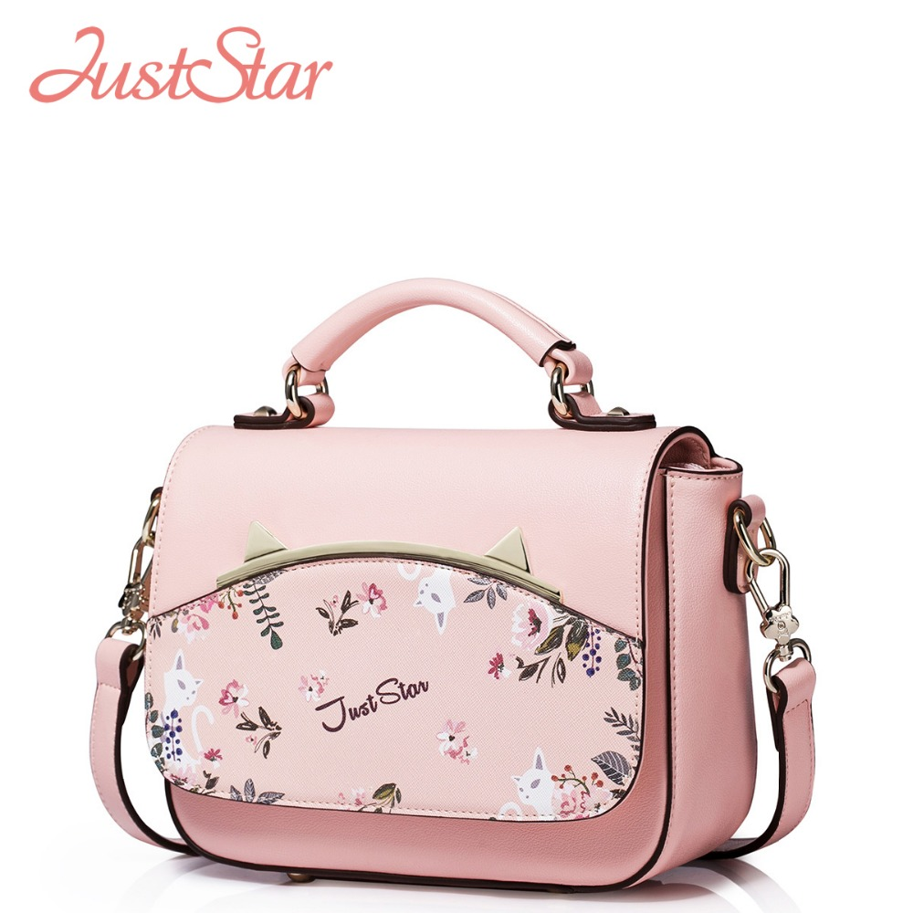 2017 new design women s fashion casual tote cartoon appliques handbags quality pvc crossbody bags gold open pocket jelly package JUST STAR Women PU Leather Handbags Ladies Fashion Cartoon Printing Leather Tote Bags Girl's PU Crossbody Bags High Quality J982