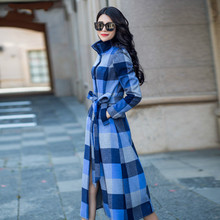 Fashion Women's Ultra Long Winter Overcoat S-4XL Plus Size Long Sleeve Stand Collar Outwear Elegant Plaid Female Woolen Coats