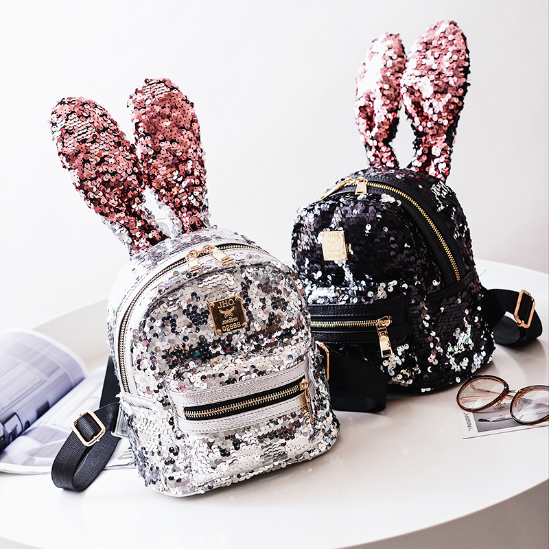 Personality Rabbit Big Ear Sequins Backpack Women Fashion Kawaii Color Focus Mini Backpack Fashion Joker Travelling