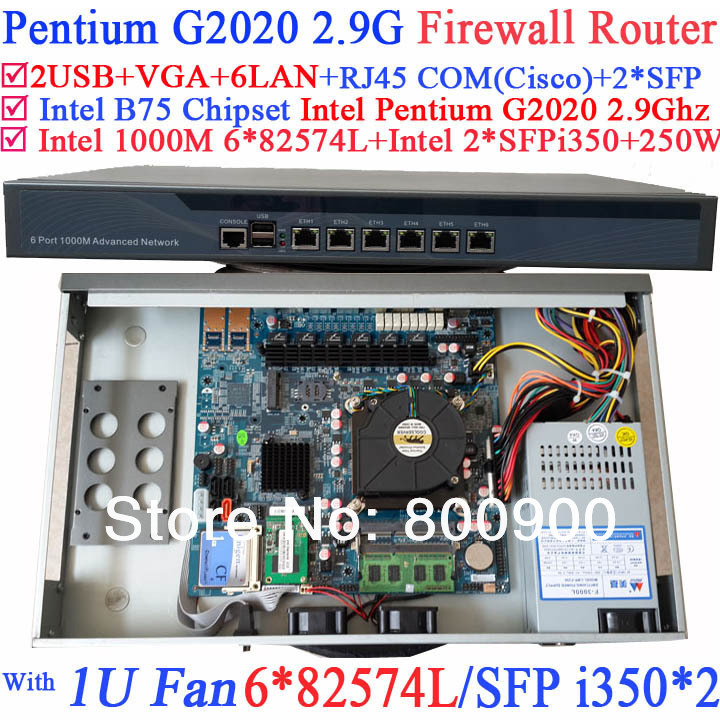 supermicro server 1U network router barebone with 6*1000M 82574L Gigabit Nics 2* intel i350 SFP ports Intel Pentium G2020 2.9Ghz