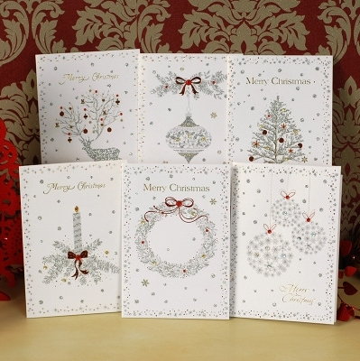 Christmas Glitter Greeting Card Set Of 18 Handmade Christmas Cards