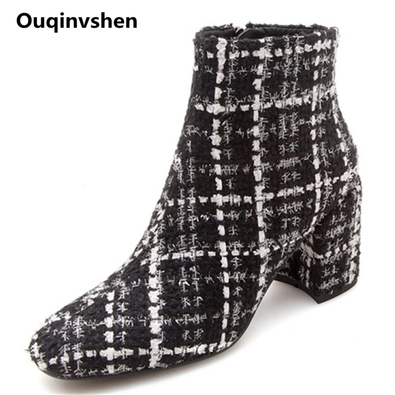 Ouqinvshen Plaid Fashion Women Winter Boots Plus Size Women Square Heels Round Toe Women Pumps Hemp Zipper High Heel Ankle Boots цена 2017