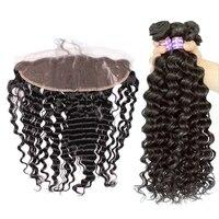 Глубокая волна Связки с фронтальной закрытие бразильского Волосы remy 4 шт. человеческих волос Weave Связки Дело sunny queen продукты волос