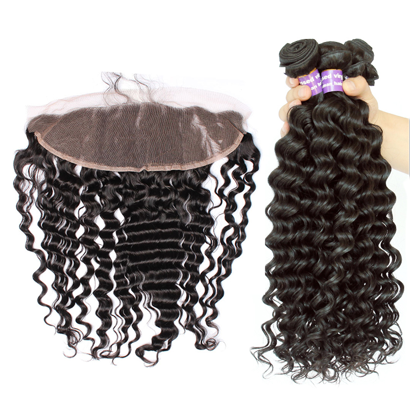 Deep Wave Bundles With Frontal Closure Brazilian Remy Hair 4 Pcs Human Hair Weave Bundles Deal Sunny Queen Hair Products