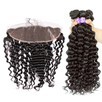 Deep Wave Bundles With Frontal 3 Brazilian Human Hair Weave Bundles With Closure 13x4 Lace Frontal 4 Pcs/Lot SunnyQueen Remy
