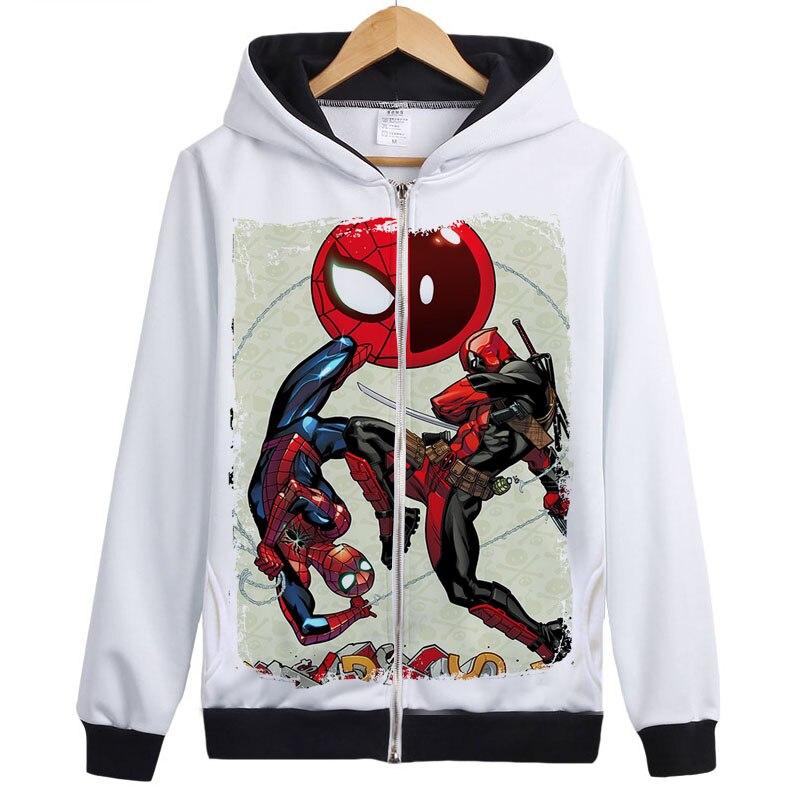 Sweat à capuche Deadpool Marvel comique Wade Wilson sweat à capuche fermeture éclair veste d'extérieur manteau Deadpool combat Spiderman Anime sweat à capuche 3D