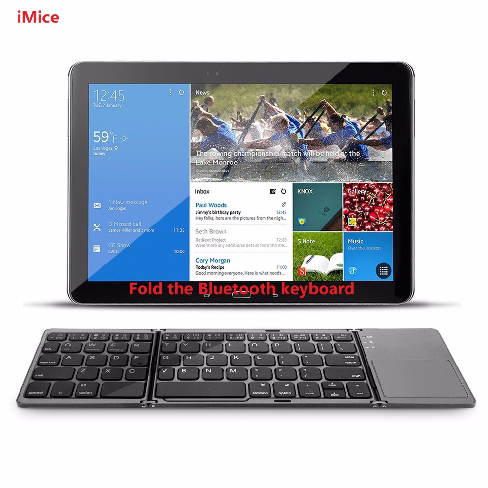 iMice Pocket Twice Folding Mini Keyboard Metal Bluetooth Foldable Wireless Keypad with Touchpad for iphone,Tablet,ipad,PC [avatto] a20 pocket leather folding mini keyboard bluetooth foldable wireless keypad for iphone android phone tablet ipad pc