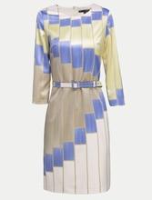 New 2016 Luxury  Arrival Women Plaid Print Dress Elegant O-Neck Work Dresses With Belt
