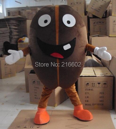 Costume de cosplay Costume de mascotte de grain de café Costume de bande dessinée taille adulte pour costumes de fête d'halloween