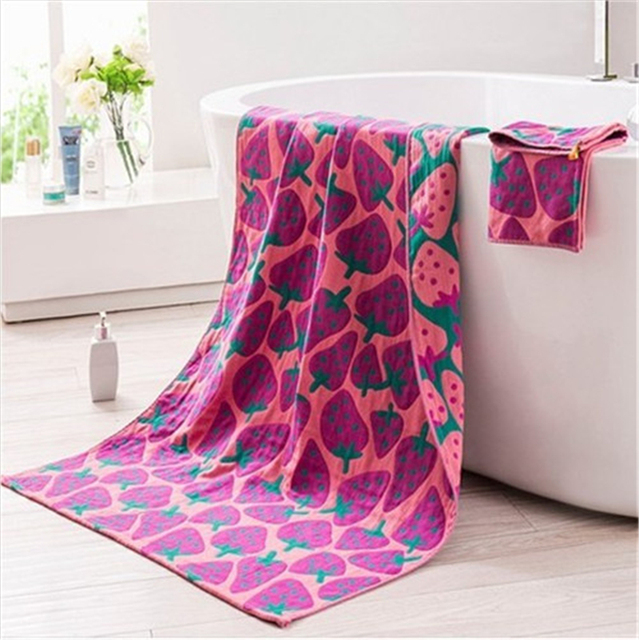 1 pçs/lote Morango Coelho face cor hit de algodão toalha gaze grossa toalha crianças B-SBK-MJ-048
