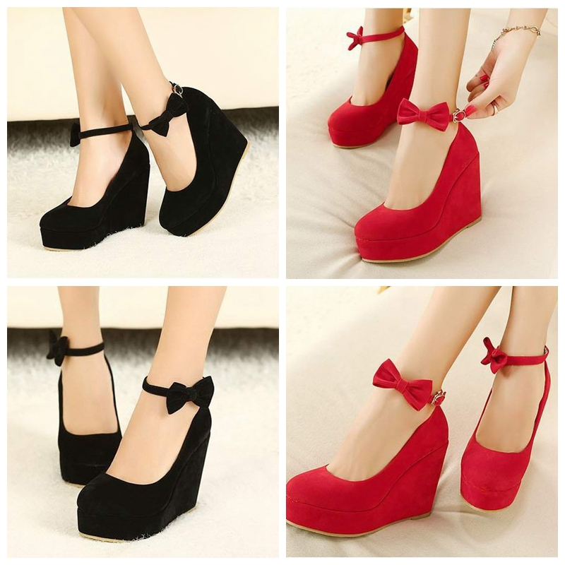 f0095f63abeb Sexy Black Red Closed Toe Platform Wedge Heels Shoes For Women High Heels  Strappy Wedges Woman Wedding Bridal Party Sandal Pumps-in Women s Pumps  from Shoes ...