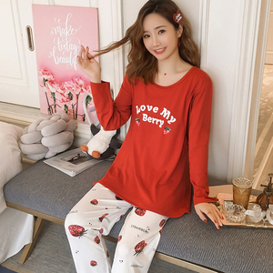 Image 3 - Spring Long Sleeve nursing clothes for Pregnant women Knitted cotton Pajamas Postpartum Maternal Lactation set maternity clothes