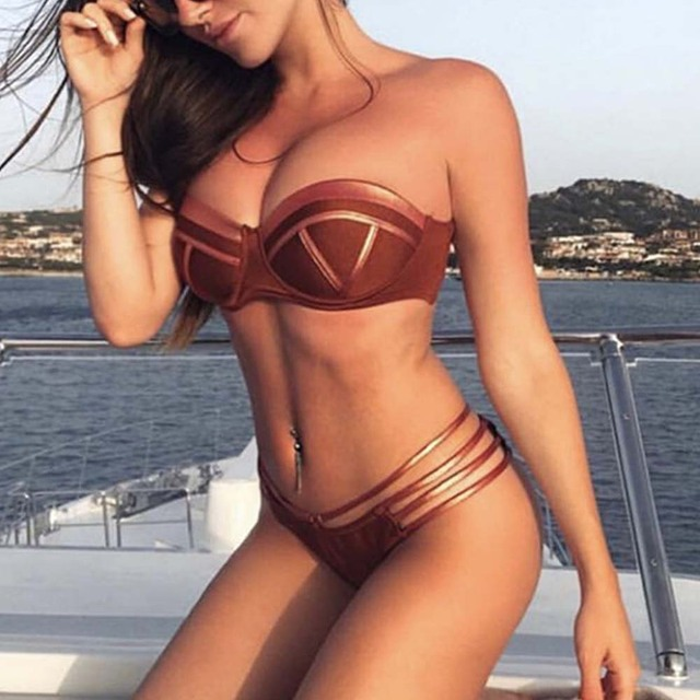 f20e4a2fad9 Sexy Strip Bikini Set Thong Women 2019 Patchwork Swimsuit Backless Bathing  Suit Women Push Up Swimwear