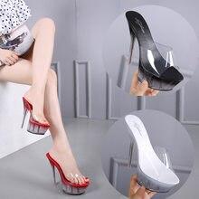 Zapatos de mujer nueva 2019 verano elegante tacón alto 14 cm bien de vidrio  transparente Zapatillas Zapatos de fondo grueso sand. 4e0b5b420acf
