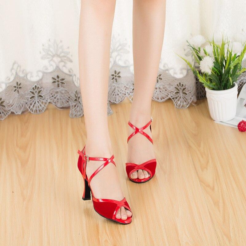 1df57cf818 Movefun Marca Dança Latina Sapatos Mulheres Senhoras de salto alto 5 cm  Tango Salão de Salsa Dança Sapatos Sandálias de Dança Preto Vermelho 8 cm