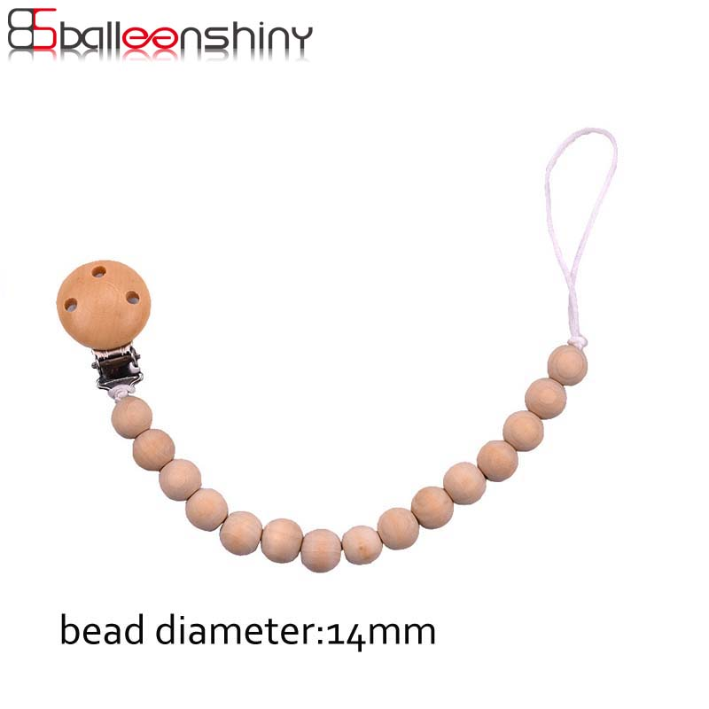BalleenShiny Natural Safe Wooden Beaded Pacifier Clip Chain Nipple Infant Baby Soother Clips Kids Teether Accessories Hot Sale