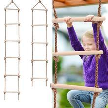 Деревянная веревочная лестница мульти бегуны дети скалолазание Крытый Открытый Сад игрушка безопасный спортивный канат качели поворотный разъем инструменты
