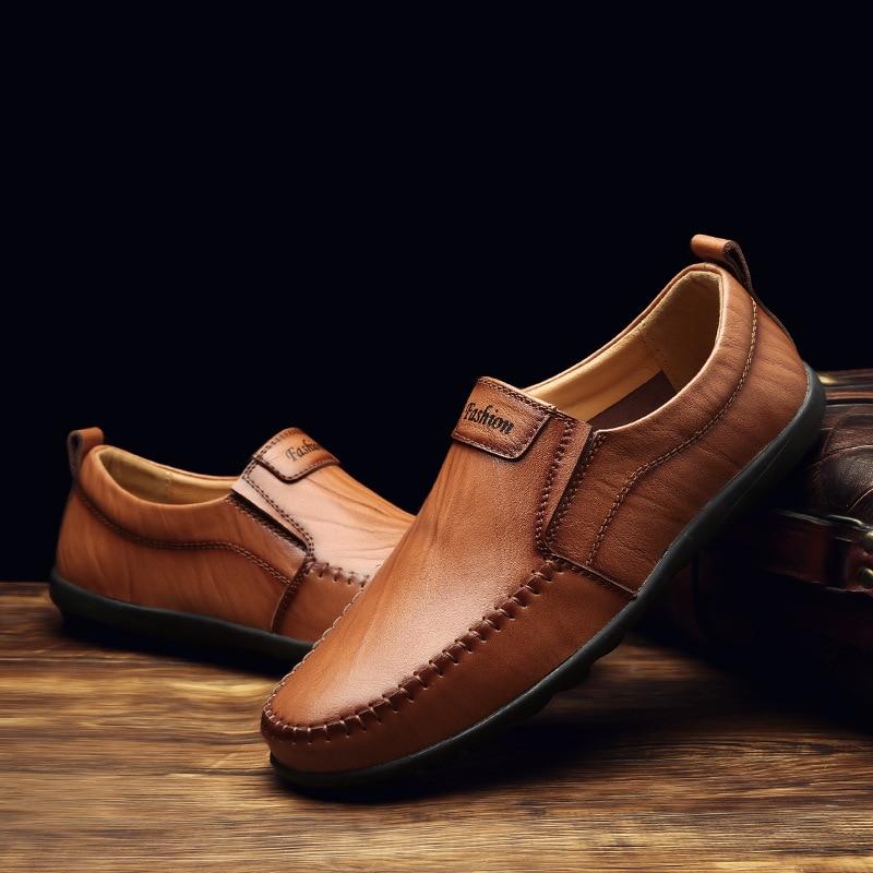 Chaussures Mode Bateau Mocassins Cuir Souple Les Hommes Glissement Casual Conduite 2a En Appartements Respirant Brown noir Sur Brown Yellow red OYAq1wX