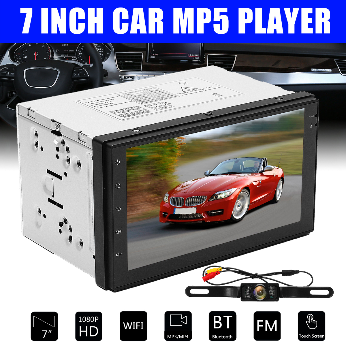 7 inch 2DIN Android 6.0 Car Radio Quad Core DVD Video MP5 Player GPS Navigation Bluetooth Car Stereo Wifi 4G Autoradio + Camera android 6 0 7 double 2din head unit touch screen car radio stereo no dvd gps obd 3g 4g wifi car stereo autoradio gps navigation