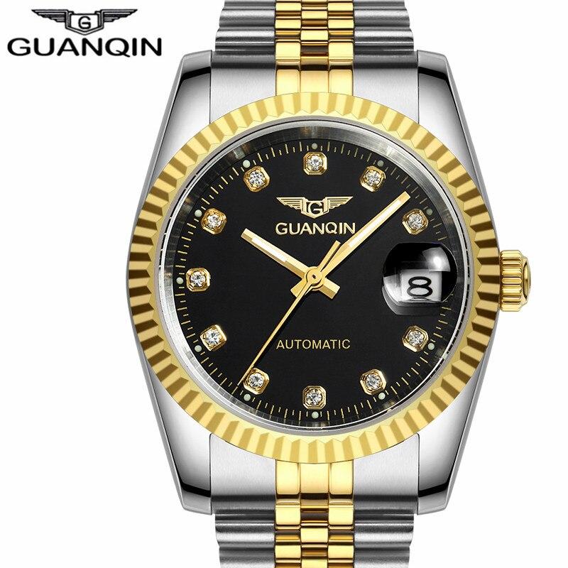 GUANQIN Men Automatic mechanical watch Diamond GQ70001 Waterproof sapphire watches steel  men luxury brand wristwatches цена 2016