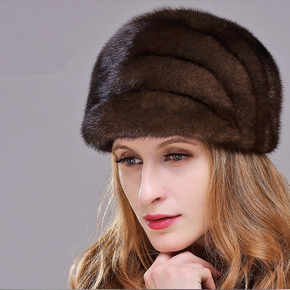 HM023 women's winter hats Real genuine mink  fur hat  winter women's warm caps whole piece mink fur hats new autumn winter warm children fur hat women parent child real raccoon hat with two tails mongolia fur hat cute round hat cap