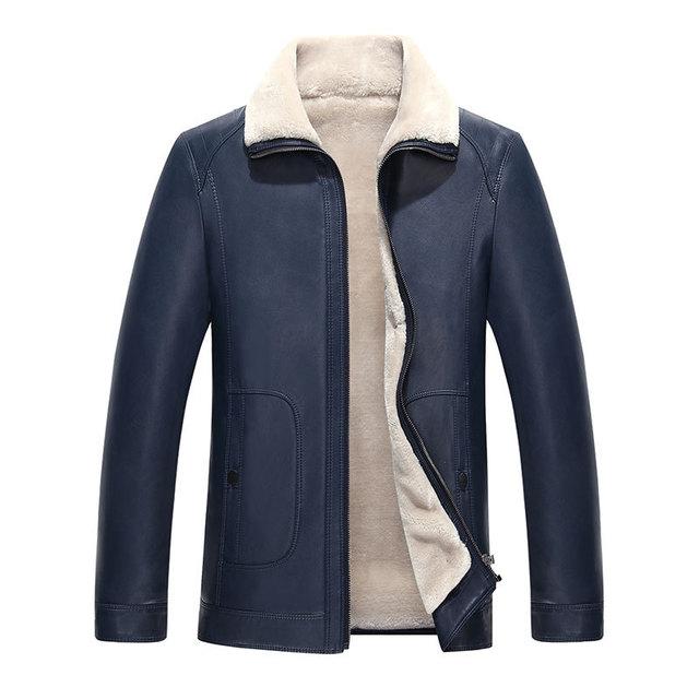 2016 Otoño e invierno abrigo de piel gruesa chaqueta de cuero de moda de los hombres de cuero al por mayor