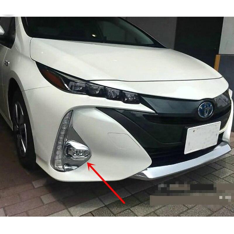 For Toyota Prius Prime PHV 2017 2018 ABS Chrome Front Fog Light Fog Lamp Cover Trim 2pcs Car Styling Accessories car front fog lamp cover rear tail fog lamp cover trim abs chrome fit for citroen c4l 2013 2014 2pcs per set