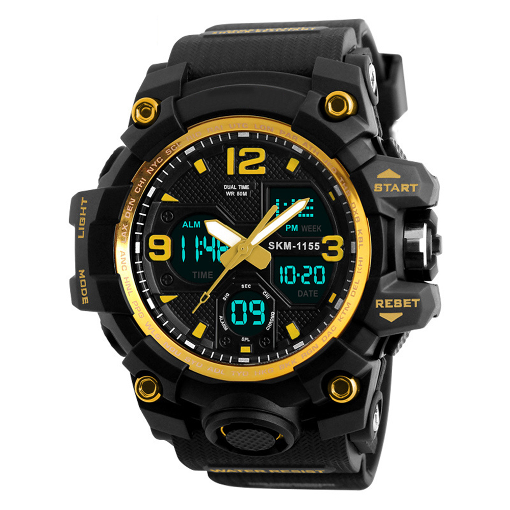 Punk Men Diving Military Sport Wrist Watch Waterproof Analog Digital Quartz Watches