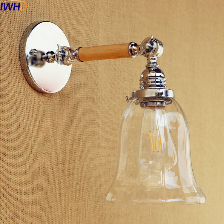 IWHD Glass Retro Vintage Wall Lamp Style Loft Industrial Wooden LED Wall Lights Fixtures Long Arm Light Sconce Apliques Pared iwhd loft style creative retro wheels droplight edison industrial vintage pendant light fixtures iron led hanging lamp lighting